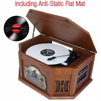 7-in-1 Boytone BT-15TBSM Classic Turntable Stereo System, Vinyl Record Player, AM/FM, CD, Cassette, USB, SD slot. 2 Built-in Speaker, Remote Contro...