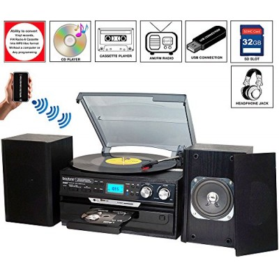 7-in-1 Boytone BT-24DJB Turntable with Bluetooth Connection, 3 Speed 33, 45, 78 Rpm, CD, Cassette Player AM, FM USB, SD Slot, Aux Input. Encoding V...