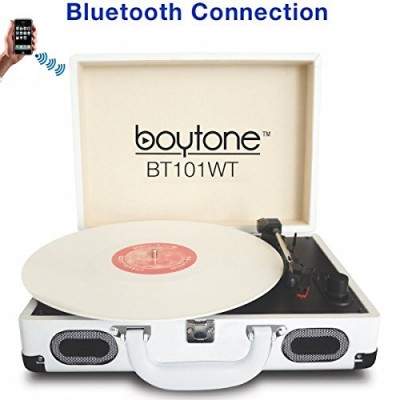 Boytone BT-101WT Bluetooth Turntable Briefcase Record player AC-DC, Built in Rechargeable Battery, 2 Stereo Speakers 3-speed, LCD Display, FM Radio...
