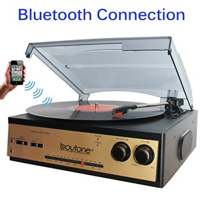 Boytone BT-13G with Bluetooth Connection 3-Speed Stereo Turntable Belt Drive 33/45/78 RPM, 2 built in Speakers AM/FM Stereo Radio, 3.5mm Headphone ...