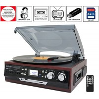 Boytone BT-17DJM-C 3-Speed Stereo Turntable, 2 Built in Speakers Digital LCD Display AM/FM, USB/SD/AUX+ Cassette/MP3 & WMA Playback /Recorder & Hea...