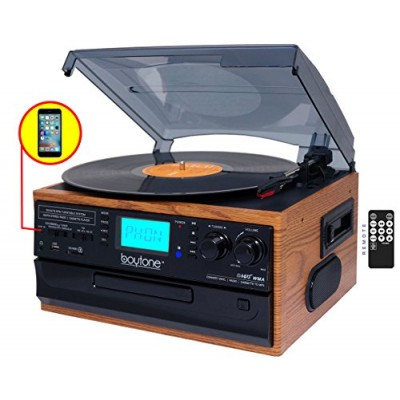 Boytone BT-21DJW-C, 3 Speed Turntable Ability to convert vinyl record, CD, Cassette, AM/FM Radio into MP3 files format without a computer, USB/SD S...