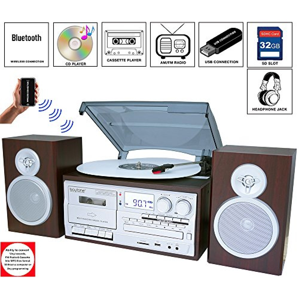 Boytone Bt 28sps Bluetooth Classic Style Record Player
