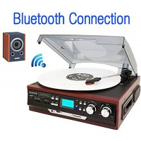 Boytone BT-37M-C Bluetooth 3-Speed Stereo Turntable, Wireless Connect to Devices speaker(Bluetooth out transfer), 2 Built-In Speakers, LCD Display,...