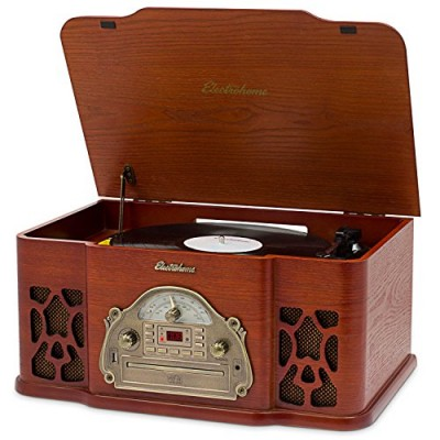 Electrohome Wellington Record Player Retro Vinyl Turntable Real Wood Stereo System, AM/FM Radio, CD, USB for MP3, Vinyl-to-MP3 Recording, Headphone...