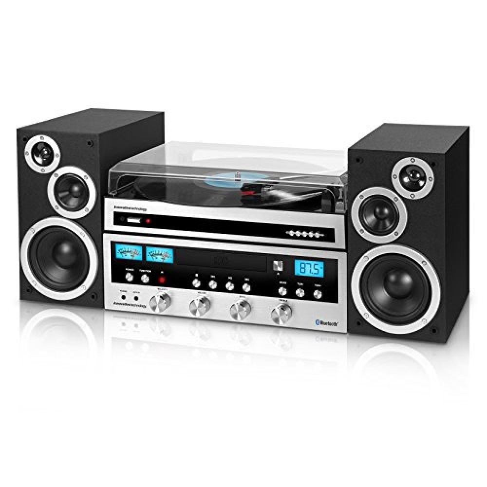 innovative technology itcds 6000 classic retro bluetooth stereo system with turntable black and. Black Bedroom Furniture Sets. Home Design Ideas