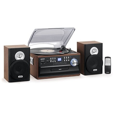 Jensen 3-Speed Turntable Music System Limited Edition JTA475W LCD Display with Front Loading CD Player , AM/FM Stereo Radio, Cassette Player ,Aux i...