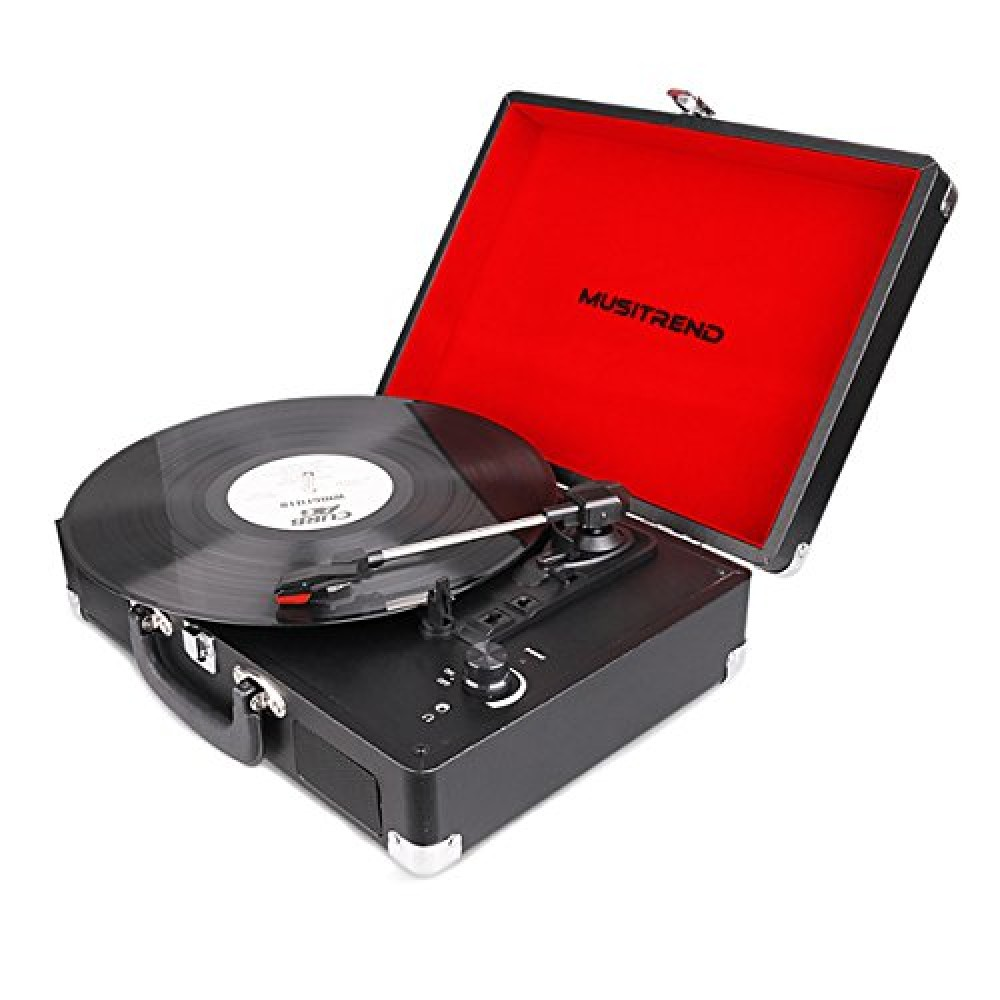 Musitrend Vinyl Record Player Classic Portable Suitcase 3