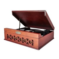Pyle PVNTT6UMRBT Retro Vintage Classic Style Bluetooth Turntable Record Player, Vinyl-To-MP3 Recording